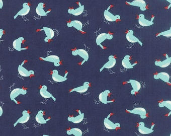 Vintage Picnic - Early Bird in Navy by Bonnie & Camille for Moda Fabrics