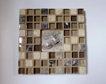 """Tan Brown Beige Glass Marble Stone Mosaic Tile Trivet with Coffee Cup and Coffeepot 6"""" x 6"""""""