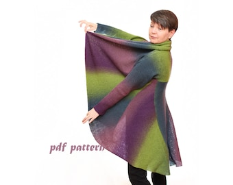 Pattern plus size sweater Multiwear wool coat, 3 in 1 Pattern PDF File Instant Download Sweater Knitting Pattern and Knitting Pattern. PDF