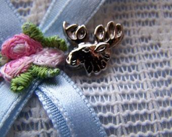 Vintage Moose Head Tie Tack in Silver Toned
