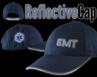 Paramedic EMT EMS Star of Life Reflective Embroidery + Trim Adjustable Navy Blue Structured Adjustable Baseball Cap + Personalization Option