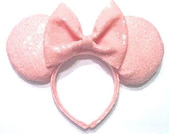 Millennial Pink Sequin Mouse Ears - Blush Pink Sequin Mouse Ears - Baby Pink Sequin Mouse Ears - Millennial Pink Minnie Mouse Ears Inspired