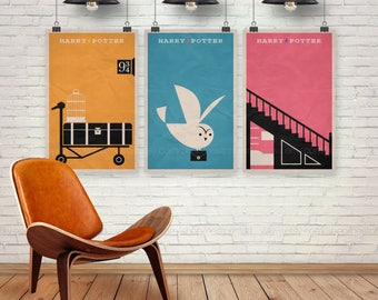 Harry Potter Poster Set. Set of 3 Prints. Movie Poster. 13x19, 16x20, 18x24, A1 size. Pop Culture and Modern Home Decor Poster. Item No. 016