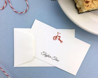 Personalize Preppy Red Tricycle Gift Enclosure Business Cards, Custom Baby, Kids, Boys, Girls,  Birthday, Calling Cards,  Set of 10