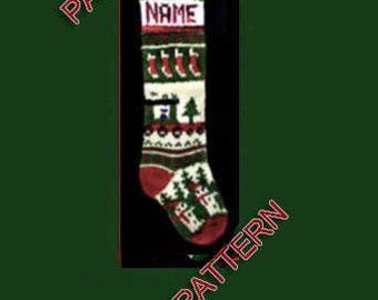 Pattern only  ---  Hand knit Christmas stocking,  snowman, train and Christmas tree
