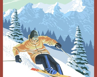 Stratton, Vermont - Downhill Skier Scene (Art Prints available in multiple sizes)