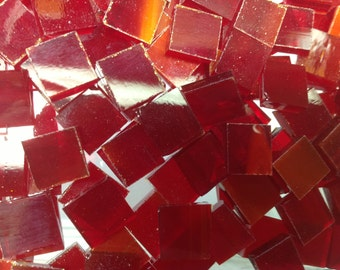 Cherry Red Wispy Stained Glass Mosaic Tile C9/O3