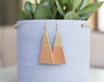 SALE : Wood Triangle Dangle Earrings, Fair Trade + Refugee Made, gold geometric wooden minimalist modern design