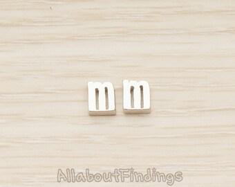 PDT079-m-MR // Matte Original Rhodium Plated 3D Small Initials Pendant, 2 Pc