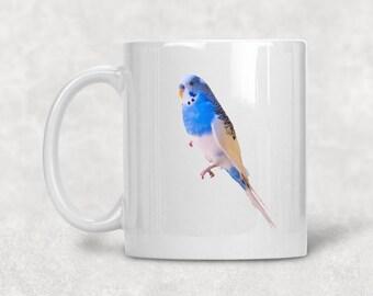 Parakeet mug, parrot gift, blue budgie, pet parrot, bird mug, companion bird, pets, parrots, feathered friend, parrot photo, blue parakeet