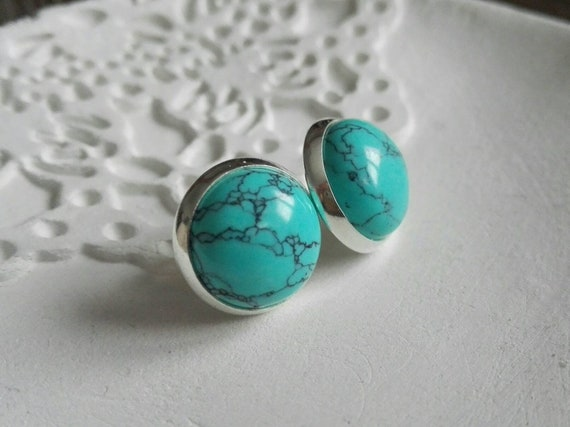 Turquoise Earrings, 925 sterling silver round stud earrings, boho jewelry, blue natural birthstone, 12mm size, modern birthday gift for her
