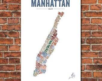 The Boroughs of New York City Series – Manhattan, Art Print
