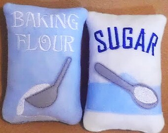 Felt play food - pretend food - play kitchen food - bag of blue Flour and Sugar Perfect for young bakers  play kitchens #PF2509