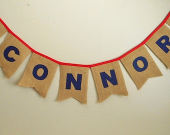 Burlap Banner- last name banner - Rustic word Banner - Wedding Banner Decoration - Wedding Sign - mantel banner - burlap flags