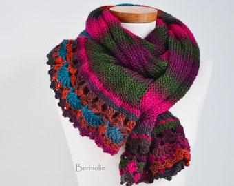 Knitted scarf in beautiful bright colors K80