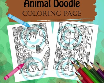Animal Doodle Coloring Page for Adult Coloring Bear pack panda bear and Kolora bear in Tangle style