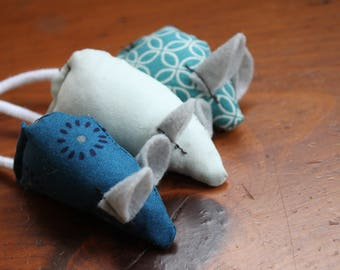 Unique Cat Toy Set, Handmade Mice - Blue, Navy, Black, Grey, Floral, Geometric