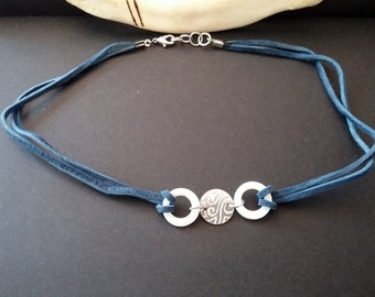 Hand-etched water choker necklace