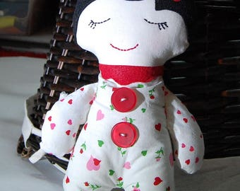Handmade doll, Darling Button Down Doll, Valentine Girl doll, Valentine's decoration