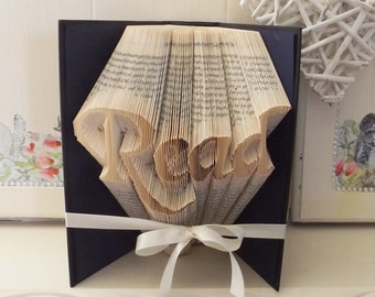 Read Book Folding Pattern. Book Folded Art with Tutorial. DIY Make Your Own Gift. Please read listing details - PDF Files Only