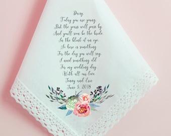 Flower Girl Handkerchief, Wedding Handkerchief, Personalized Flower Girl Thank you gift, Printed Hankie, Custom Handkerchief, Hankie - 247