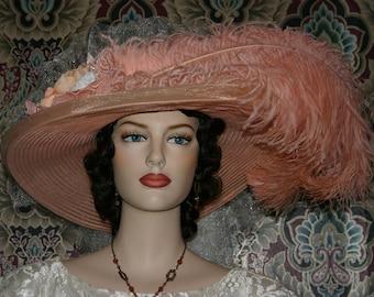 Victorian Hat, Peach Pink Kentucky Derby Hat, Oaks Hat, Tea Party Hat, Wide Brim Hat - Peaches & Cream Crystal Fairy