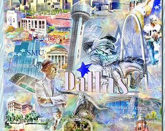 Dallas Texas, an Artistic Collage