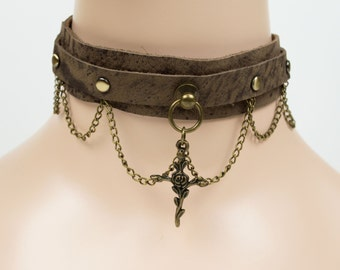 Brown Leather Choker Necklace, Statement Cross Choker Necklace, Cross Choker Necklace, Antique Brass Cross Choker Necklace,Punk Cross Choker