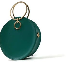 Aureole Bracelet Bag in Teal // Structured Wristlet Clutch // Circle bag // Top handle handbag