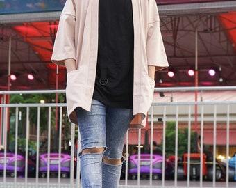 Men's Beige Long Japan Kimono Cardigan, Man Noragi Coat, Unisex Oversized Street Haori Jacket, Fall Streetwear, Loose Style Yukata Overcoat