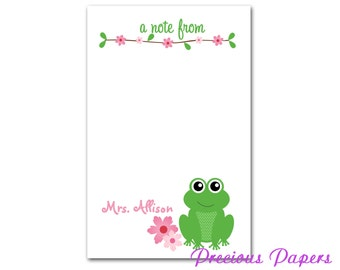 Personalized Frog Teacher notepads Personalized teacher gift Personalized frog note pads frog note pads