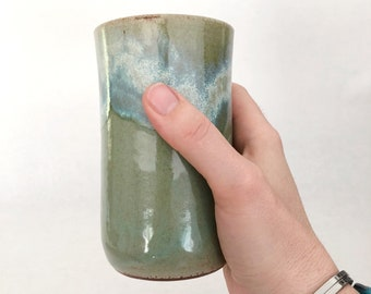 Simple vessel - Buff stoneware clay with Seaside glaze - Vase, Carafe, Cup