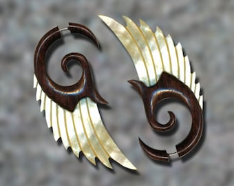 Fake Gauges, Handmade, Wood Earrings, Cheaters, Organic, Split, Tribal Jewelry - Shell Wings MOP Brown - Wood Max's Angel Wings - SWM2