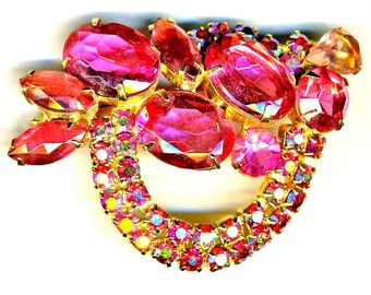 DeLizza and Elster aka Juliana Pink Ovals, Red Chatons Brooch   Item No: 15003