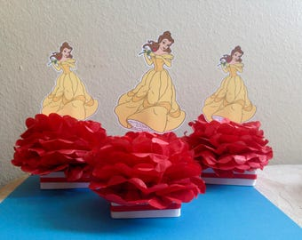 Belle centerpiece, beauty and the beast decoration, beauty and the beast party, birthday party, centerpieces,