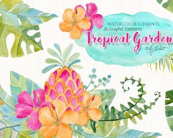 Tropical Garden - art clipart - Illustration - Watercolor Elements - PNG file