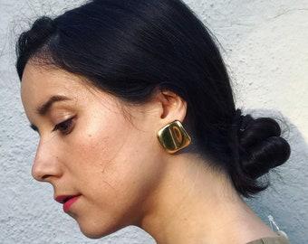 Vintage Modernist Gold Tone Earrings