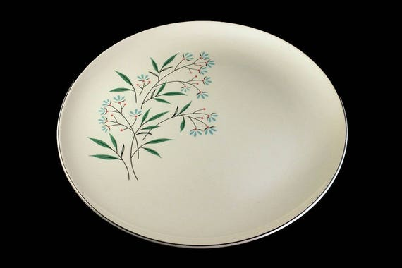 Dinner Plate, Taylor Smith Taylor, Petal Lane,  Blue and White, Platinum Trim, Blue Floral