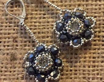 Beaded Floral Dangle Earrings