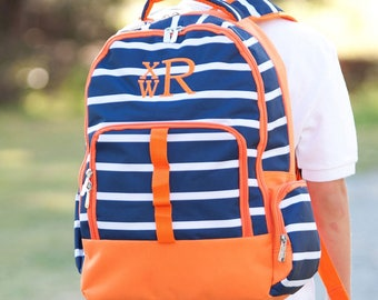 Striped Backpack for Kids, Personalized Backpack for Boys, Monogram Bookbag, Blue and Orange Back pack