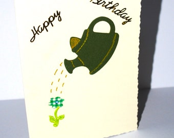 HALF PRICE  SALE watering  can  with  fabric  flower birthday  card