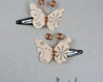 Silk Butterfly hair clips clips beige beads and bronze metal, ombre antennas body party, ceremony, made in France