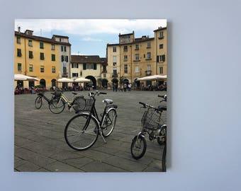 Lucca bikes, Photo on 19x19 cm MDF (Medium-density fibreboard), Wall Art, Home Decor, Limited Edition Photography Prints