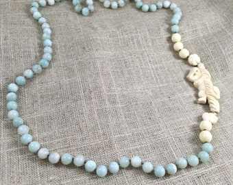 Amazonite Necklace with Carved Bone Figural Sloth and Bone Beads.  One Only.