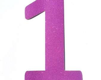 Purple Number One, Purple One Shape, Number One Shape, Number Cut Outs, One Cut Out, Glitter Number One