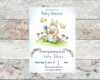 Baby Bunny Printable Baby Shower Invitation