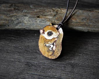 Sweet cute flying squirrel leather pendant - by Fanny Dallaire -  leather work