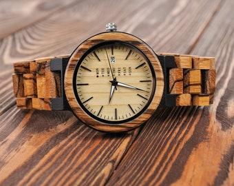 Wooden Watch Women Watch Personalized Watch Engraved Watch Wedding Gift man's Wrist Watch Birthday Gift Watch Watch for Wedding Christmas
