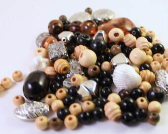Assorted Silver, Black, Brown, Tan and Cream Wood, Acrylic and Shell Beads, Mixed Shapes, Wholesale