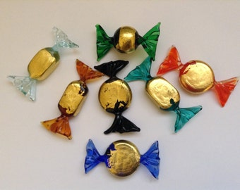 Beautiful Candy in Murano Glass and Gold Leaf Handmade MADE IN ITALY in different shapes and colors